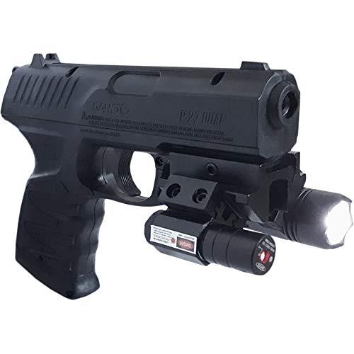 CO2 semiautom/ática 3,5J con Linterna y Visor l/áser y perdigones munici/ón Dual: de Plomo o Bolas de Acero BBs Pistola de Aire comprimido Gamo P-27 T/ÁCTICAL