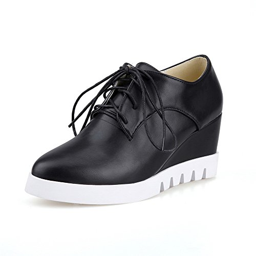 AmoonyFashion Womens Lace Up Round Closed Toe High Heels Pu Solid Pumps-Shoes Black 6Ngr8Z8uj