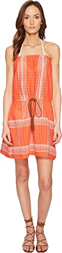 Letarte Women's Strapless Embroidered Dress Hot Coral Swimsuit Top ()