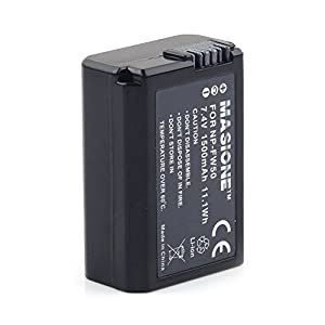Masione NP-FW50 Lithium-Ion Rechargeable Battery for Sony Alpha Camera NEX-3 NEX-5 NEX-6 Alpha 7R A35 A55 A3000 A5000 A6000 1500mAh Replacement Battery Pack