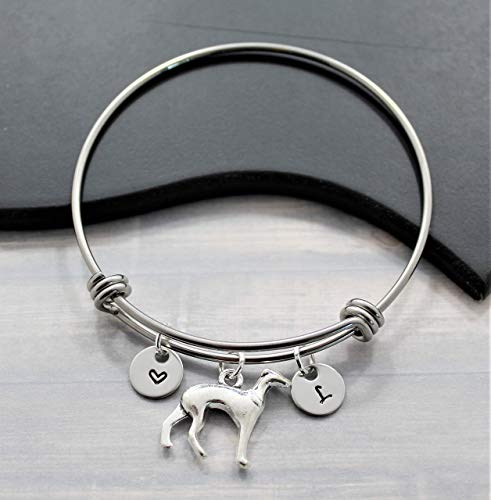 Italian Greyhound Puppies - Italian Greyhound Gift - Greyhound Dog Lover Jewelry - Adjustable Bangle Bracelet - Personalized Initial - Fast Shipping