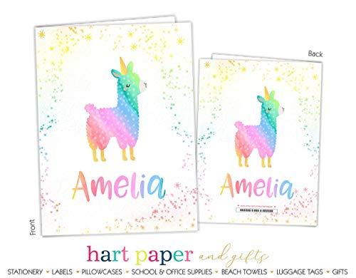 Llama Alpaca Llamacorn Unicorn Rainbow 2 Pocket Folder Gift Name Back to School Supplies Teacher Office Birthday Girl Kids Custom Personalized Custom by Hart Paper