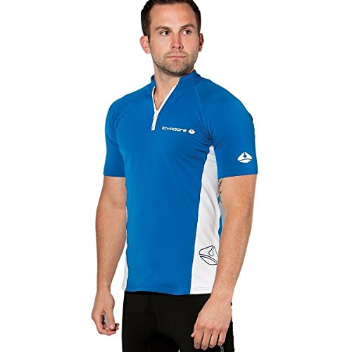 Lavacore New Men's Short Sleeve LavaSkin Shirt (2X-Large) with Front Zipper for Scuba Diving, Surfing, Kayaking, Rafting, Paddling & Many Other WaterSports (Navy Blue/White) … by Lavacore