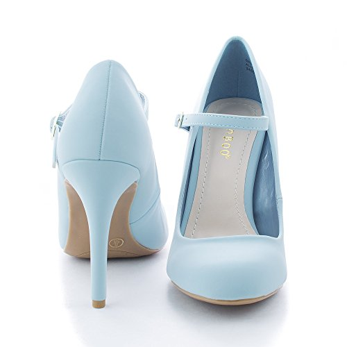 Grand06 Powder Blue Almond Toe Mary Jane Stiletto Heel