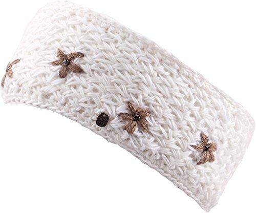 LESLIE STIRNBAND Haarband Kopfband mit Blümchenmuster gestrickt und Innenfleece