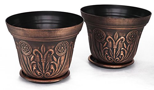 12'' Medieval Flowerpots, set of 2 Planter for Garden Patio Office Ornaments Home Decor Long Lasting Reusable Light Weight (Copper) by Sapphire USA (Image #1)