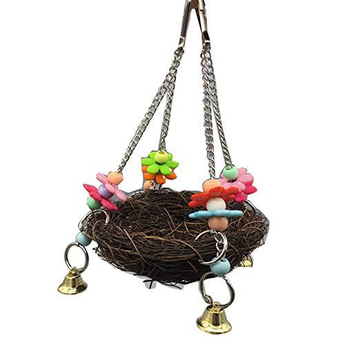 Kakadu-Papageien-Sittich, der natürliches Rattan-Vogelnest-Schwingen-Spielzeug mit Glocken hängt Flowerrs