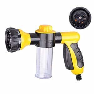 QIYUN.Z 8 in 1 High Pressure Spray Nozzle Water Shape Sprayer 8 Spray Settings with Foam Clean Function, Best for Car Washing, Gardening, Pet Washing Etc