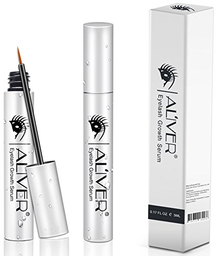 Eyelash Growth Serum, Aliver Natural Extract Lash and Brow Enhancer Essence for Rapid Grow Long Thick Full Eyelashes and Eyebrows(5ml, Silver)