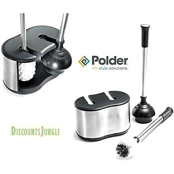 Amazon Com Polder Toilet Brush And Plunger Bath Caddy