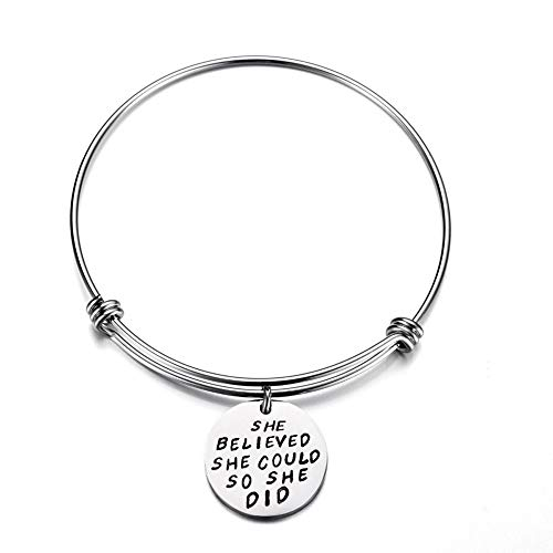Inspiration Bangle Bracelet,Haluoo She Believed She Could So She Did Graduation Bracelet Stainless Steel Cuff Bangle Bracelet Charm Bracelet For Colleague Students Daughter Gifts (Silver)