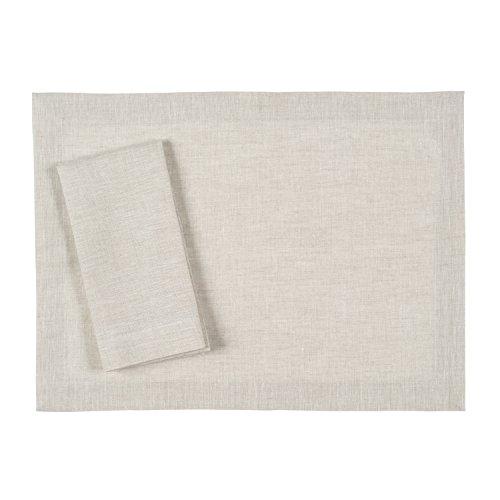 Undyed Linen - Huddleson Natural Undyed Flax Color Pure Linen Placemat 15x20 (Set of Four)