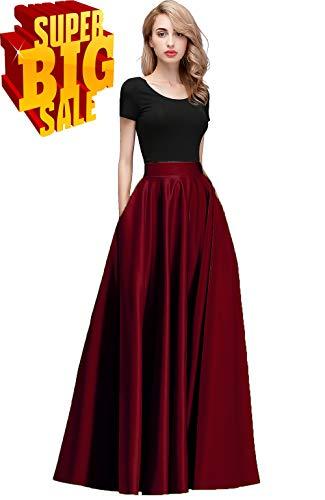 Honey Qiao Women's Satin Long Floor Length High Waist Fomal Prom Party Skirts with Pockets,Back Zipper Closure Burgundy (Burgundy Long Skirt)