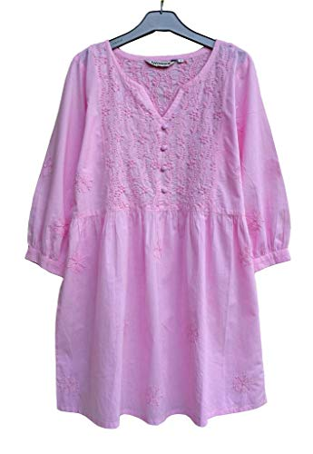 Ayurvastram Megha Pure Cotton Hand Embroidered Tunic Top Blouse: Pink: 1X