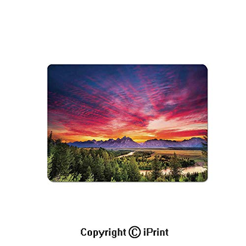Gaming Mouse Pad Custom,Colorful Skyline with Clouds in The Forest Lake River Mountain Landscape Sunburst Mouse Mat,Non-Slip Rubber Base Mousepad,7.9x9.5 inch,Multicolor