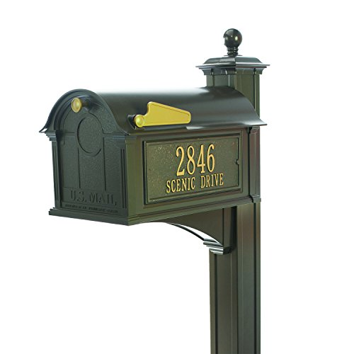 Personalized Whitehall Balmoral Mailbox with Side Address Plaques, Monogram & Post Package (3 Colors Available) by Personalized Mailbox (Image #5)