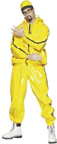 Smiffy's Men's Rapper Suit, Hooded Jacket, pants and Hat, Icons and Idols, Serious Fun, Size M, (Man With Yellow Hat Costume Amazon)