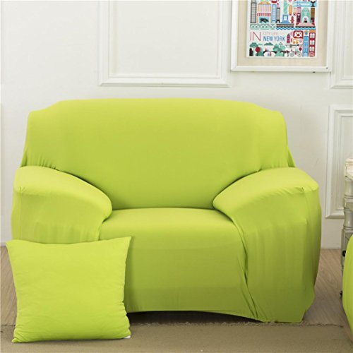 Single Sofa Couch Elastic Slipcover Stretch Solid Covers Fabric Settee Protector Fit (Green)