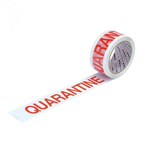 Bong ETQUAR Tape Printed Quarantine, Red on white (Pack of 36)