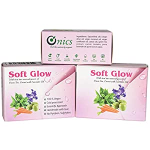 ONICS Soft Glow 100% Vegan, Natural, Organic, Hand Made, Luxury Bath Soap, Tan Removal Power of Green Tea, Carrot with…