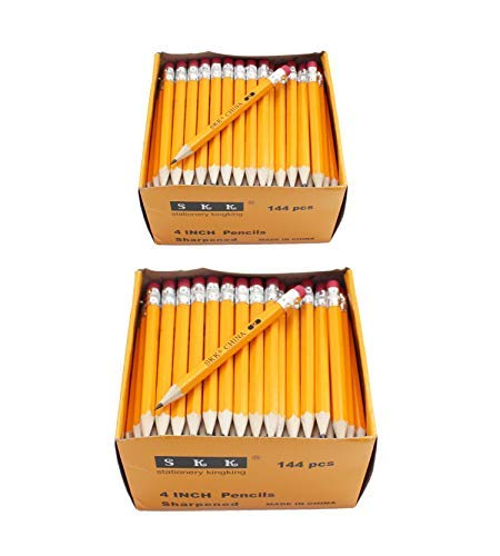 SKKSTATIONERY Half Pencils with Eraser Tops, Golf, Classroom, Pew - #2 HB, Hexagon, Pre-sharpened, 144/Box. (2 pack)