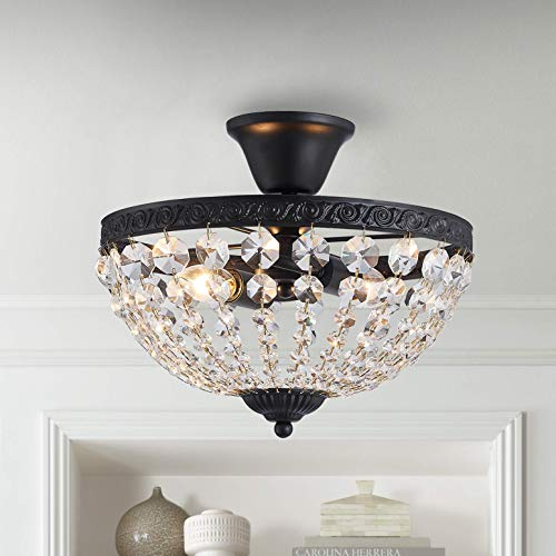 Modern French Empire Black Finish Crystal Flushmount Chandelier Lighting LED Ceiling Light Fixture Lamp for Dining Room Bathroom Bedroom Livingroom 3 E12 Bulbs Required D12 in X H12 in