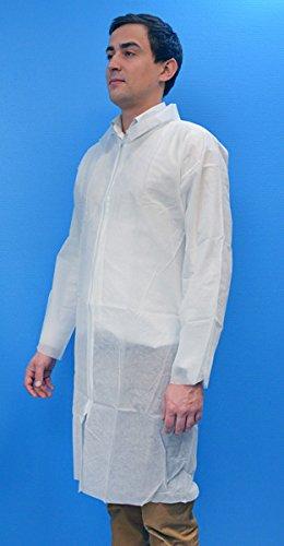 Priorisk - Bata desechable con cierre de cremallera, talla L, color blanco: Amazon.es: Salud y cuidado personal
