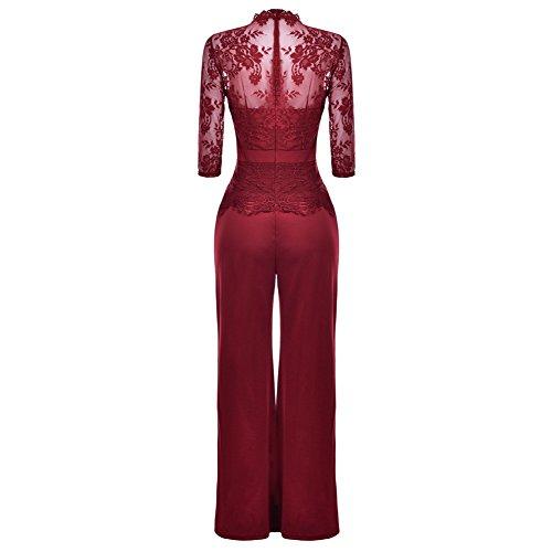 Corala Molisry Women Long Sleeve Lace Top High Waisted Wide Leg Long Pants Jumpsuits Romper