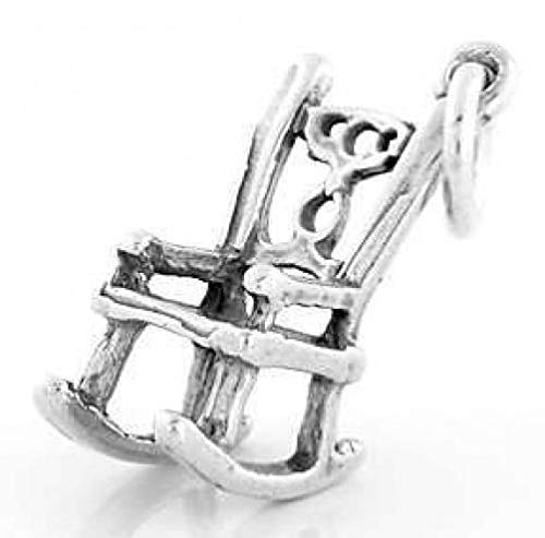 Sterling Silver 3D Rocking Chair Charm/Pendant Jewelry Making Supply Pendant Bracelet DIY Crafting by Wholesale -