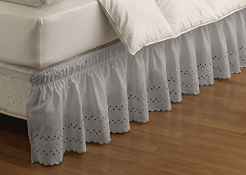EASY FIT Eyelet Wrap Around Easy On/Off Dust Ruffle 15-Inch Drop Bedskirt, Queen/King, Grey