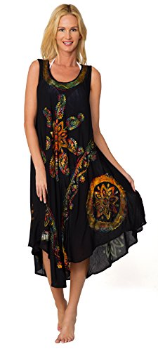 Ingear Sleeveless Sequin Handkerchief Embroidery Kaftan Umbrella dress Cover Up (One Size, Black Multi)