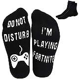 Ankle Socks Novelty Crew Funny Socks 2 Pairs Cotton Non Slip Socks for Men Kids Boys Great Gift for Fortnite Lovers,Black