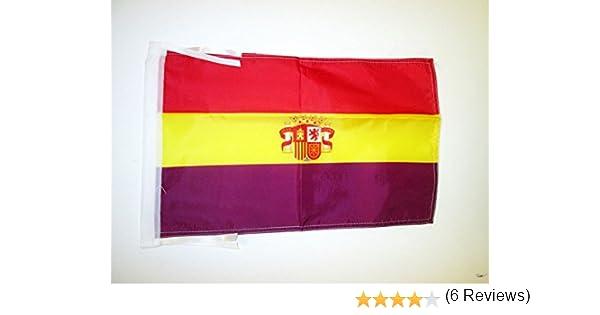 AZ FLAG Bandera ESPAÑA Republicana con Escudo 45x30cm - BANDERINA DE LA Republica ESPAÑOLA 30 x 45 cm cordeles: Amazon.es: Hogar
