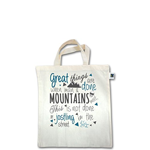 Après Ski - Great things happen Mountain - Unisize - Natural - XT500 - Fairtrade Henkeltasche / Jutebeutel mit kurzen Henkeln aus Bio-Baumwolle