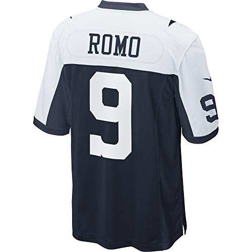 NFL Mens Dallas Cowboys Tony Romo NIKE Jersey, Throwback Navy/White, Large Dallas Cowboys White Jersey