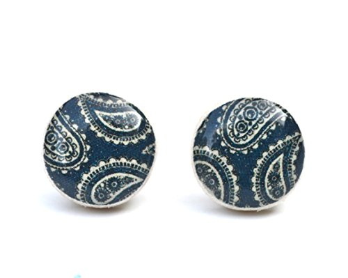 Navy blue paisley stud earrings. Navy blue wood studs by Starlight Woods.