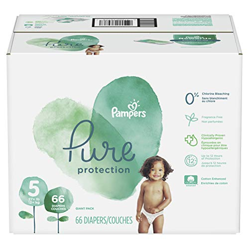 (Diapers Size 5, 66 Count - Pampers Pure Disposable Baby Diapers, Hypoallergenic and Fragrance Free Protection,)