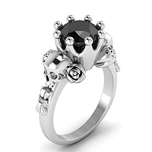 DALARAN Skull Crown Ring Girls Gothic Ring Flower Eternity Band for Women Size 7 Silver (Gothic Silver Rings)