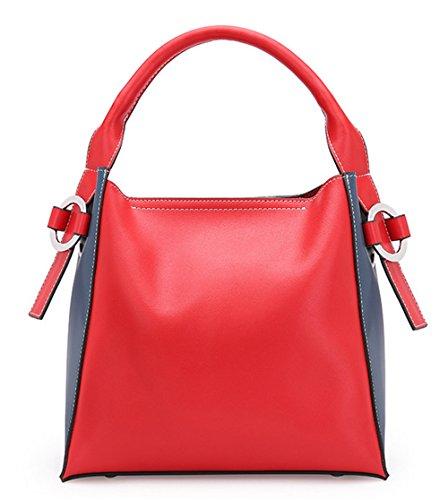 Otoño e Invierno XinMaoYuan Cowhide hombro bolsa bandolera Handmade señoras baldes Suave bolsa de cremallera Rojo con azul
