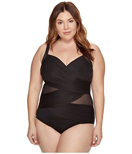 Miraclesuit Women's Plus Size Solids Madero One-Piece Black Swimsuit (Suit Miracle Plus Swimwear)