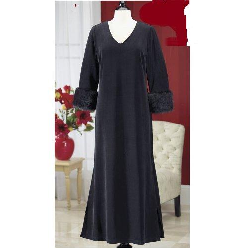 Elegant Black Faux Mink Velour Velvet Lounger Gown Maxi Dress Plus Size 3xl -