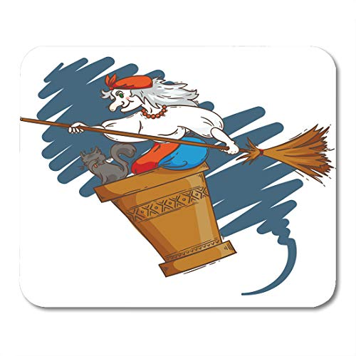 Emvency Mouse Pads Baba Yaga Flying in Mortar Cat and Broomstick The Night Russian Granny Witch Halloween Cartoon Mouse pad 9.5