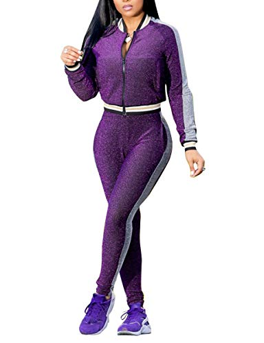 Womens 2 Piece Outfits Hoodies and Pants Set Bodycon Tracksuits Purple - Purple Tracksuit