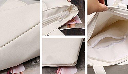 Algodón Simple Mano Aikesi Bandolera Color Estilo Tela Y Negro De Celosía negro Bolsa C Bolsos Compras Lino D Tote Ocio Sólido vvW68x