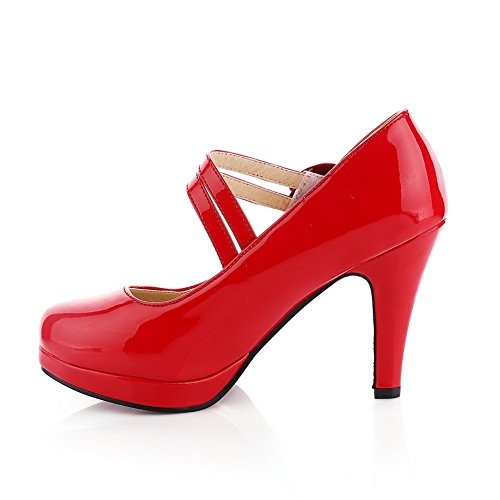 shoes imitation balamasa Dessus Mesdames red pumps cuir Heels Baskets High FZZ7wWSgq