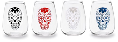 Circleware Sugar Skull Stemless Wine Glasses/Assorted