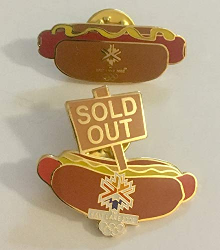 Rare 2002 Salt Lake City Winter Olympics Hot Dog & Sold Out End of Games Hot Dog Set of 2 Pins
