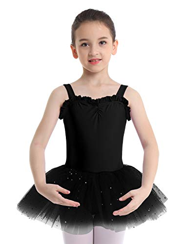 iiniim Kids Girls Shimmering Ballet Dance Tutu Dress Shoulder Straps Gymnastic Leotard Fairy Dress up Costumes Black 4-5 -