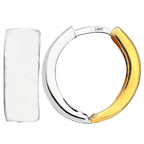 14k 2 Tone Gold Snuggable Huggie Reversible Earrings, Diameter 15mm ()