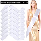 Blank Satin Sash Party Accessory for Wedding, Party Decorations and DIY, White (2)